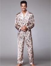 Hot!Sexy Pajamas Suit for Men Silky smooth Anti real silk Pajamas Bathrobe Leisure suit Elegant Leisure home Pajamas Sets QTZ073