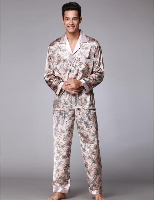 Hot!Sexy Pajamas Suit for Men Silky smooth Anti real silk Pajamas Bathrobe Leisure suit Elegant Leisure home Pajamas Sets QTZ073