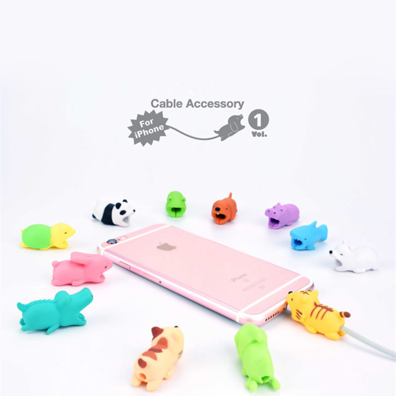 Cable Protector Animal - Shaped Winder Dog Bite Phone Accessory Prank Toy Funny Pvc Animal rabbit cat panda Doll 2*2*4cm