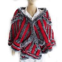 Autumn Winter Women's Genuine Knitted Rex Rabbit Fur Shawl Wedding Wraps Lady Pashmina Poncho VF7063