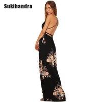 Sukibandra Summer Deep V Neck Maxi Long Dress Floral Print Black Women Maxi Long Beach Dress
