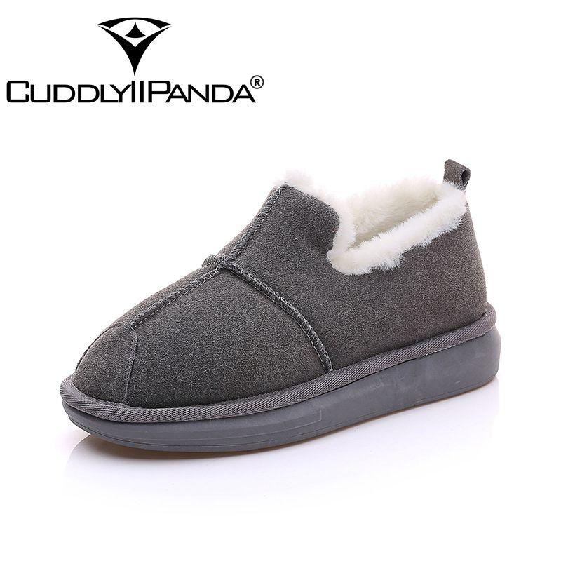 CUDDLYIIPANDA 2017 New Arrival Women Genuine Leather Snow Boots Winter Warm Nubuck Leather Slip-On Round Toe Ankle Flat Boots 2016 autumn winter new arrival genuine leather women boots med heel round toe solid black rivets slip on ankle boots