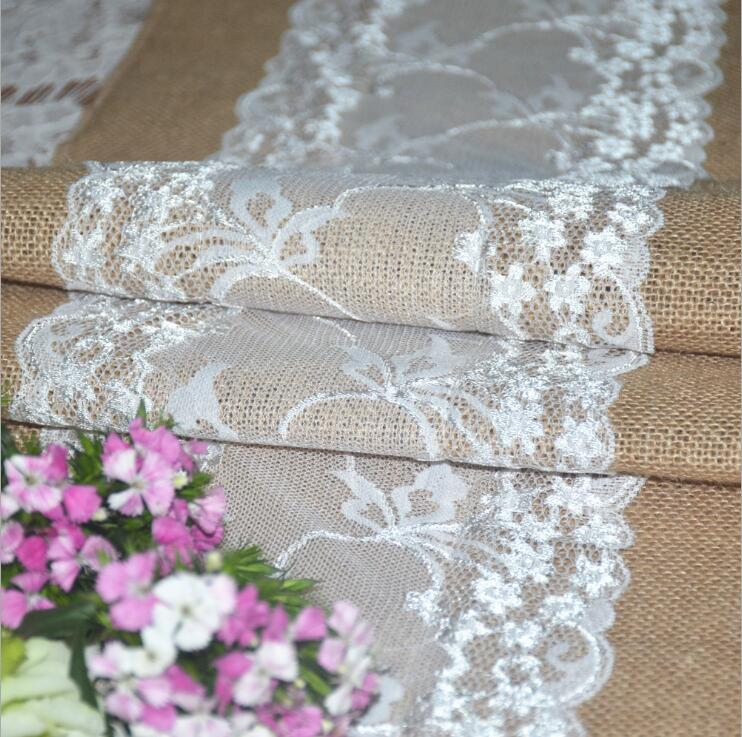 Wedding supplies DIY handmade linen burlap table runner chair back decor Diy roll linen lace handmade wedding decor