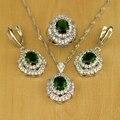 Natural Criado Verde Esmeralda Branco Topaz 925 Sterling Silver Conjunto de Jóias Para As Mulheres de Casamento Brincos/Pingente/Colar/anéis T029