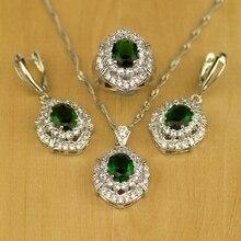 Натуральный зеленый CZ Белый циркон стерлингового серебра 925 набор для женщин Свадебные Серьги/Подвеска/Цепочки и ожерелья/Кольца T029