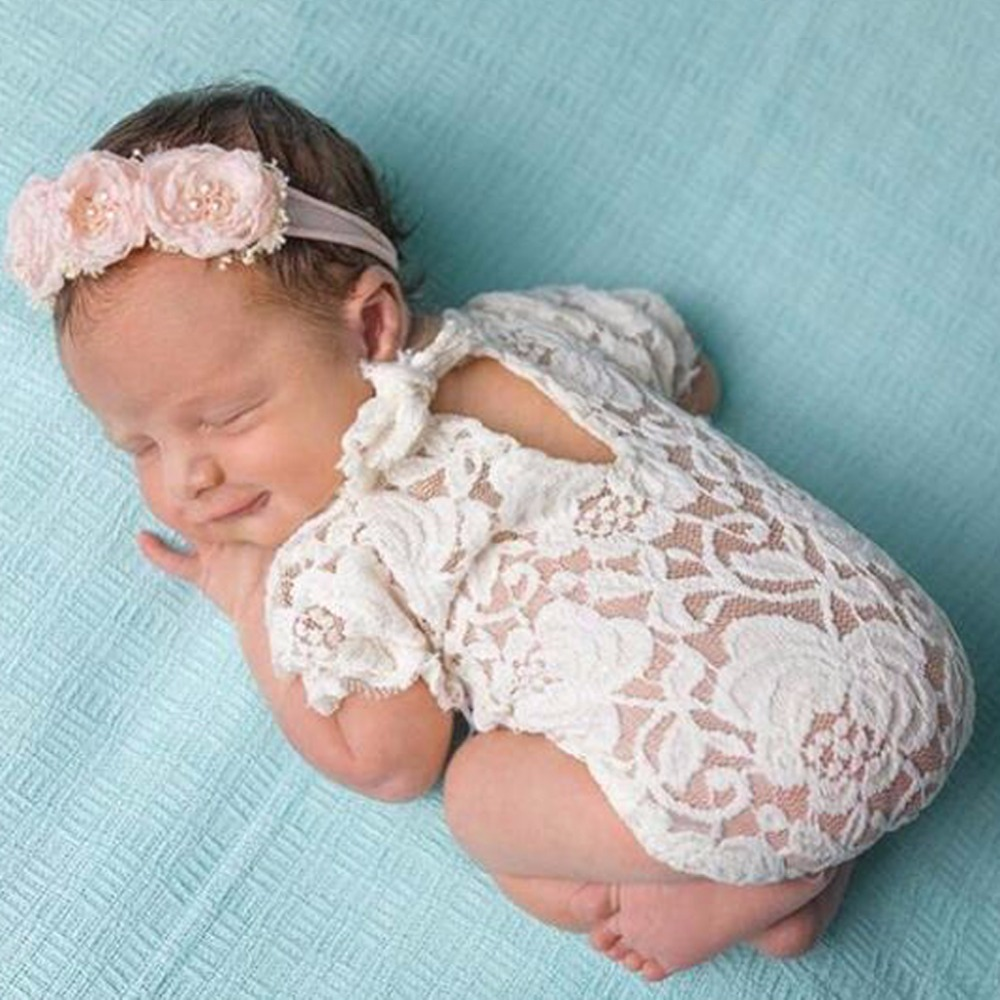 Baby Photography Props Lace Costume Newborn Baby Romper Headband Infant Outfit