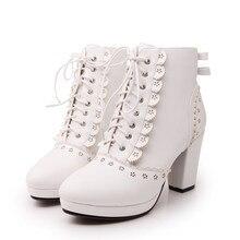 ขนาดบวก34-43แฟชั่นรองเท้าสั้นฤดูหนาวส้นสูงหนังสีขาวรองเท้า2015ลูกไม้ขึ้นBotas Femininasสีดำผู้หญิง