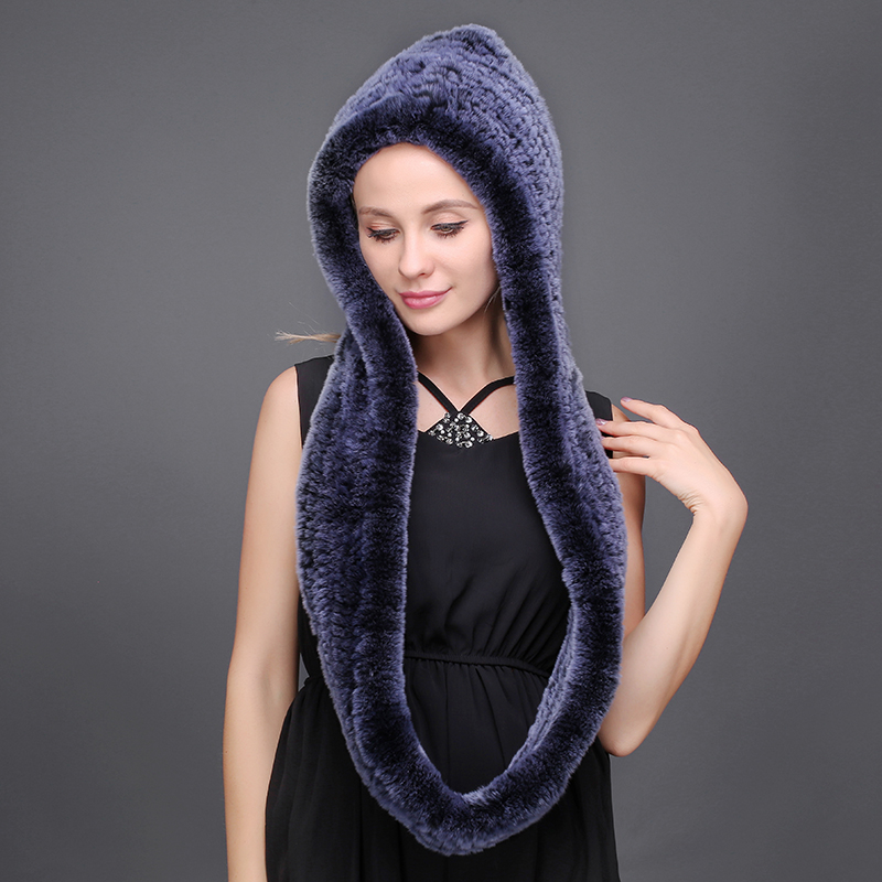 80CM Winter Women Scarf Natural Rabbit Fur Hat Warming Luxury Rex Rabbit Fur Skin Friendly Female Natural Fur Hat Cap