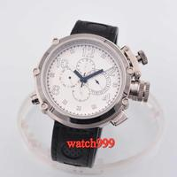 50mm Parnis Big Face White Dial Leather Strap Automatic Men's watch Luminous Mechanical watches
