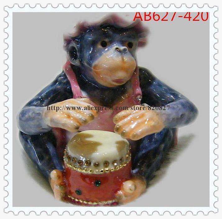Monkey Playing Drum Bejeweled Trinket Box Monkey Handcrafted Jeweled Trinket Box Bejeweled Monkey Statue Trinket Jewelry Box
