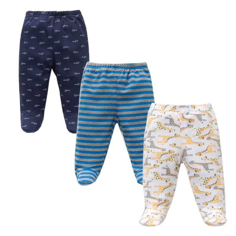3PCS/Lot Spring Autumn Footed Baby Pants 100% Cotton Baby Girls Boys Clothes Unisex Casual Bottom PP Pants Newborn Baby Clothing(China)