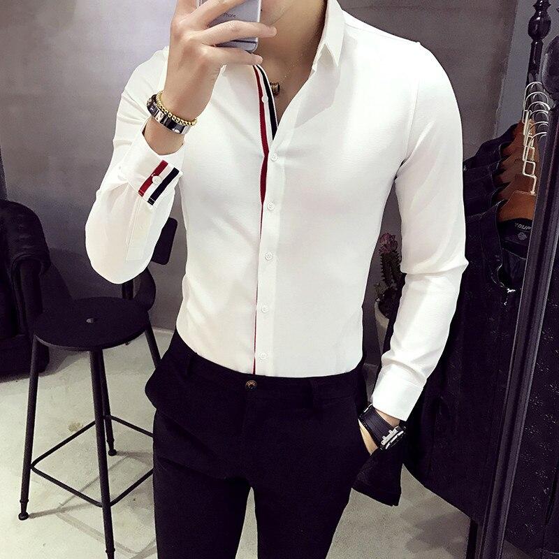 XMY3DWX Men Long Sleeve Shirt Personality Selling Brand Europe The Design Thin Body Dress Shirt Fashion Leisure Business Shirt