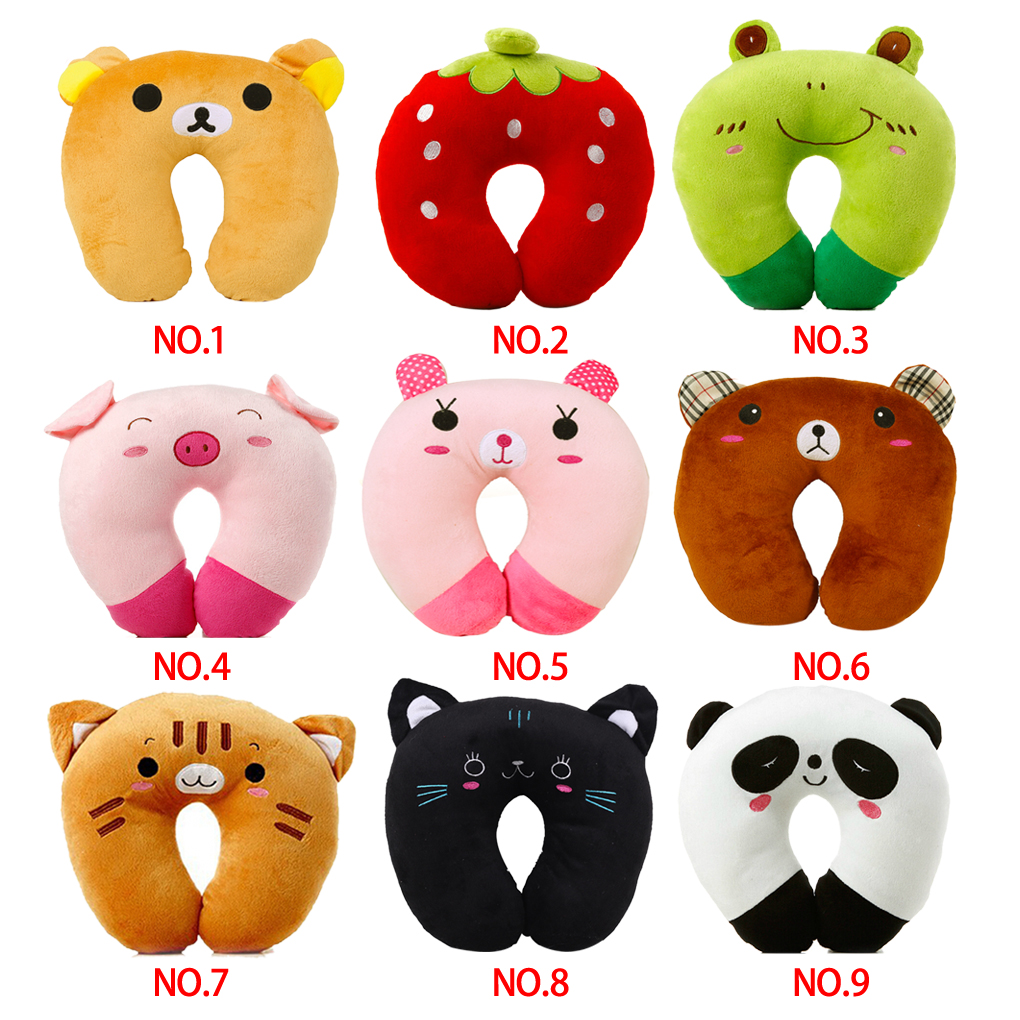 Cute Animal Shaped Pillows : HOT Office noon break U shaped Plush Pillow cute Travel Pillow Cartoon Animal Car Headrest 8 ...