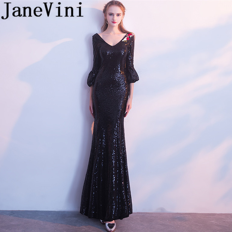 JaneVini 2018 Sparkly Black Sequins Mermaid Long   Bridesmaid     Dresses   with Sleeves V-Neck Backless Maid Of Honor Gowns for Wedding