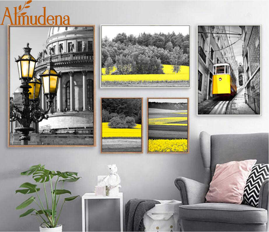 ALMUDENA Abstract Streetlight Forest Yellow Black and White ...