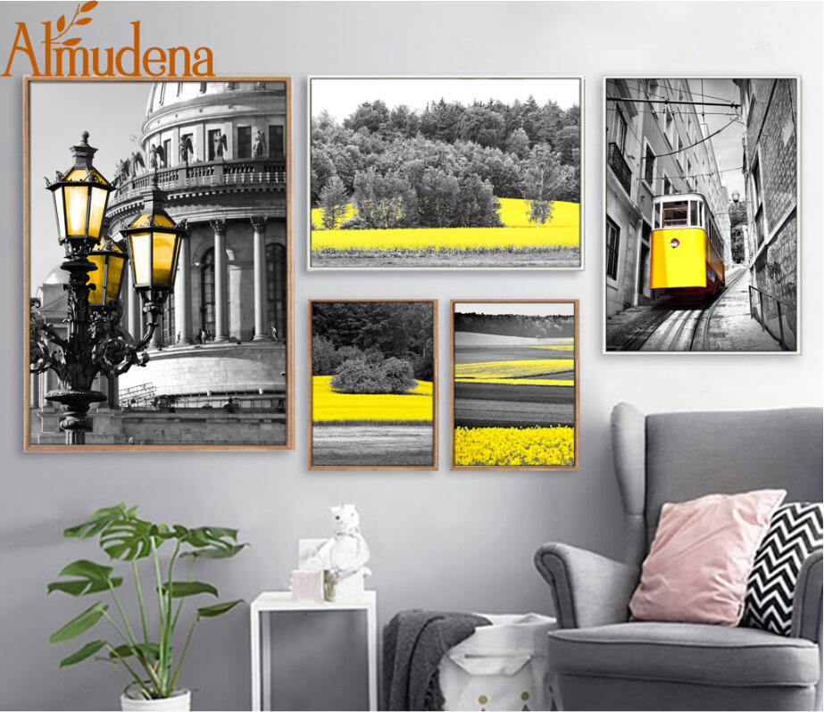 US $5.05 49% OFF|ALMUDENA Abstract Streetlight Forest Yellow Black and  White Tram Landscape Painting Living Room Wall Art Canvas Prints No  Frame-in ...