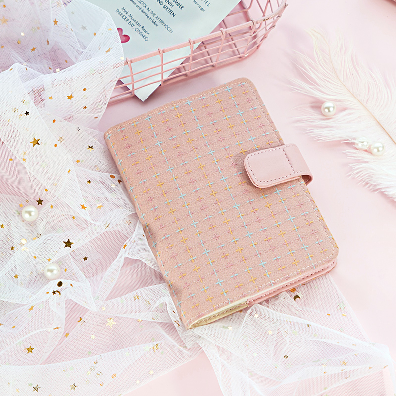 Kinbor Romantic Pink A6 Diary Book Cute Planner Notebook Hobonichi Style Travel Journal Notepad Kawaii Stationery Kids Gift