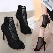 Liren 2019 Summer Sexy PU Gladiator Openwork Style High Thin Heel Women Sandals Black Grid Open Toe Lady Shoes
