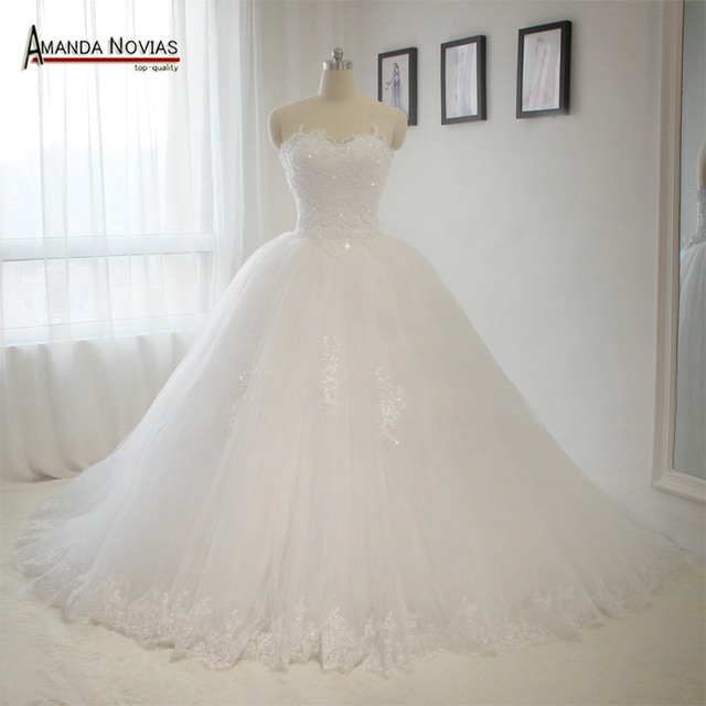 Sweetheart Neckline Bodice Lace Pearls Wedding Dress Puffy Princess ...