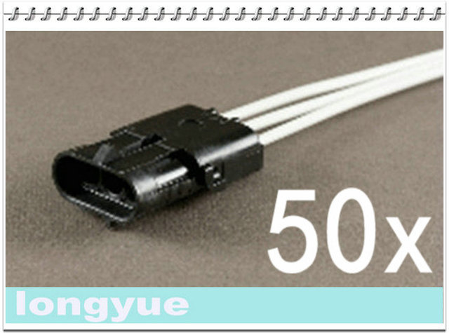 longyue 50pcs 3 Way male comnector pig tail Weather Pack Wire ... on square pin weather pack connectors, weather pack fittings, weather pack plugs, weather pack tools, weather pack terminal connectors, weather pack sockets,