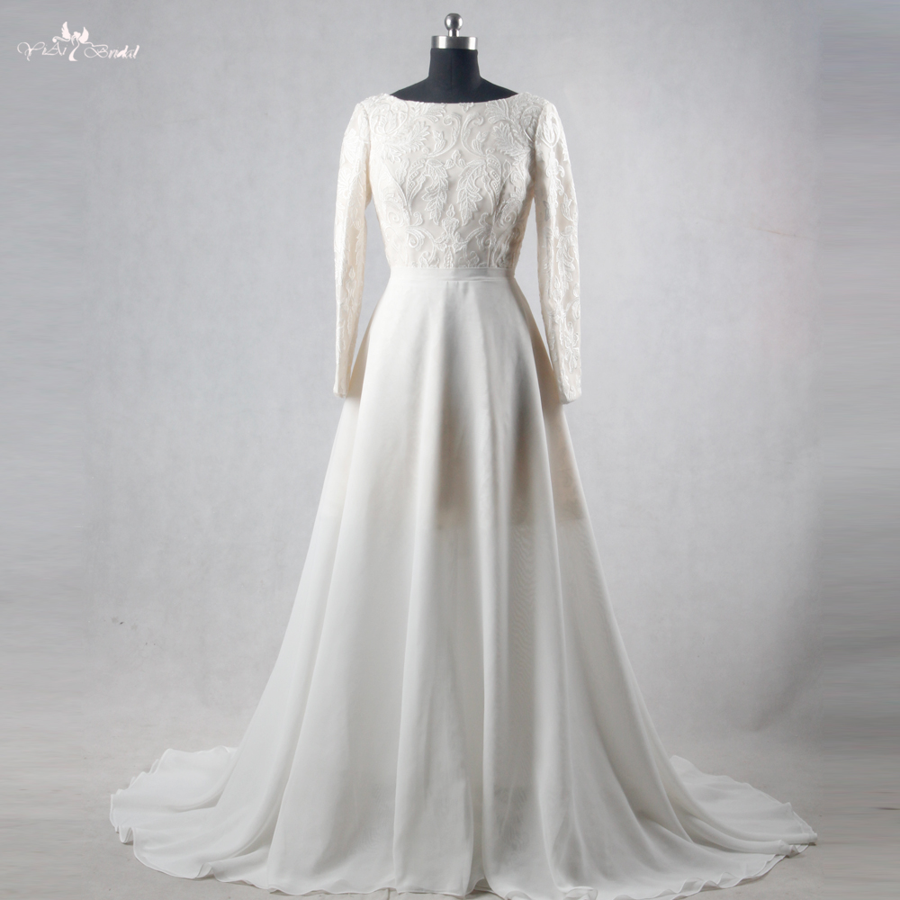 Rsw1113 long sleeve boat neckline lace two piece high low for Boat neck long sleeve wedding dress