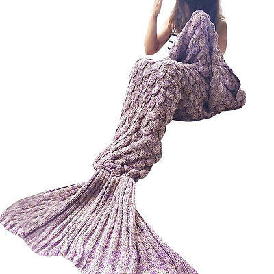 Kids Adults Crocheted Mermaid Tail Wool Knitting Fish Style Little Tail Blankets Warm Sleeping Child Adult Princess Loves Gift