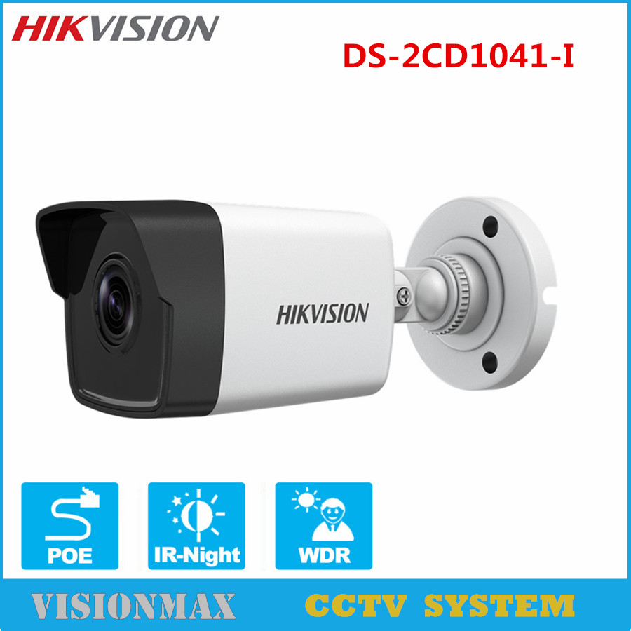 Hikvision 4MP Network Bullet IP Camera DS-2CD1041-I 30m IR Onvif 1080P HD POE replace DS-2CD2045-I WDR English version newest hik ds 2cd3345 i 1080p full hd 4mp multi language cctv camera poe ipc onvif ip camera replace ds 2cd2432wd i ds 2cd2345 i