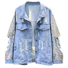2019 Autumn Denim Coat For Women Loose Sequin Jacket Cool Hole Fashion Casual Tops Hipster Outwear