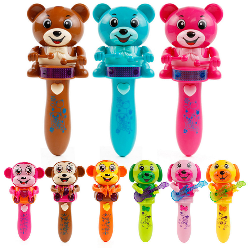 New 3 toys Electric Beating Drum Bear DJ-ing Monkey and Guitar Dog Baby Music Toy Cartoon Light Musical Instrument Toys