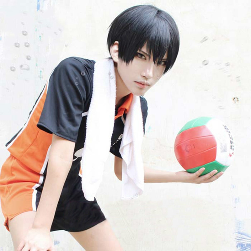 Anime Haikyuu!! Volleyball Tobio Kageyama Short Black Cosplay Costume Wig Heat Resistant+ Wig Cap
