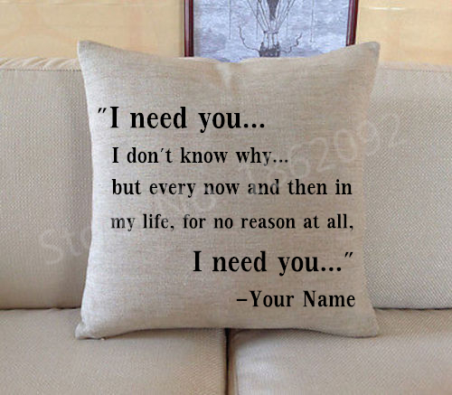 Personalized Quote Anniversary Gifts Cushion Cover Custom Name I