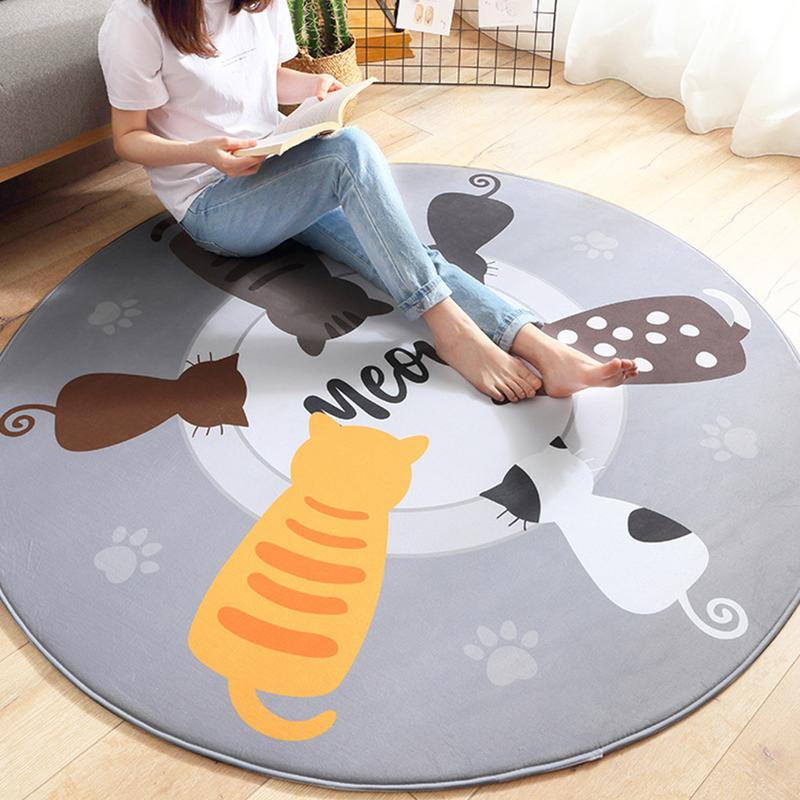 Baby Cartoon Animal Cat Play Mats Pad Toddler Kids Crawling Blanket Round Carpet Rug Toys For Children Room Decor Photo Props