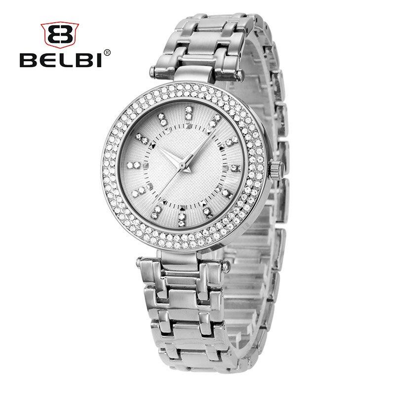 BELBI Women Watches Bracelet Watch Ladies With Crystal Steel Strip Quartz Ladies Watch Bayan Saatleri 2018 watch crystal