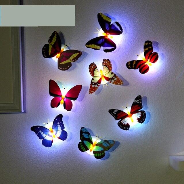 Luz de noche LED con forma de mariposa pegatina en la pared colorida ...