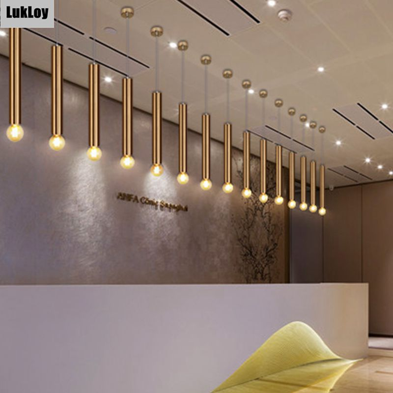 LukLoy Gold Pendant Lamp Down Lights Kitchen Island Dining Living Room Shop Decoration Cylinder Pipe Pendant Bar Counter Modern