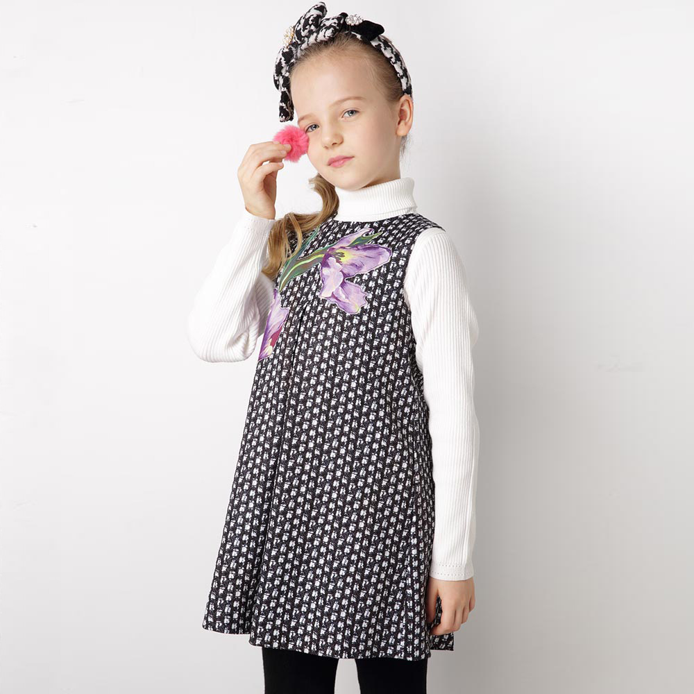 Children Dress Sleeveless Girls Party Dress with Purple Tuplip Printed Princess Costume for kids Clothes Girls Dresses 3-12Y girls europe the united states children princess long sleeved purple lace flower dress female costume kids clothing bow purple