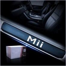 Peitoril da porta do carro placa de chinelo pedal bem vindo adesivo acessórios do carro para assento mii 4d vinil fibra carbono adesivos porta limiar 4 pçs