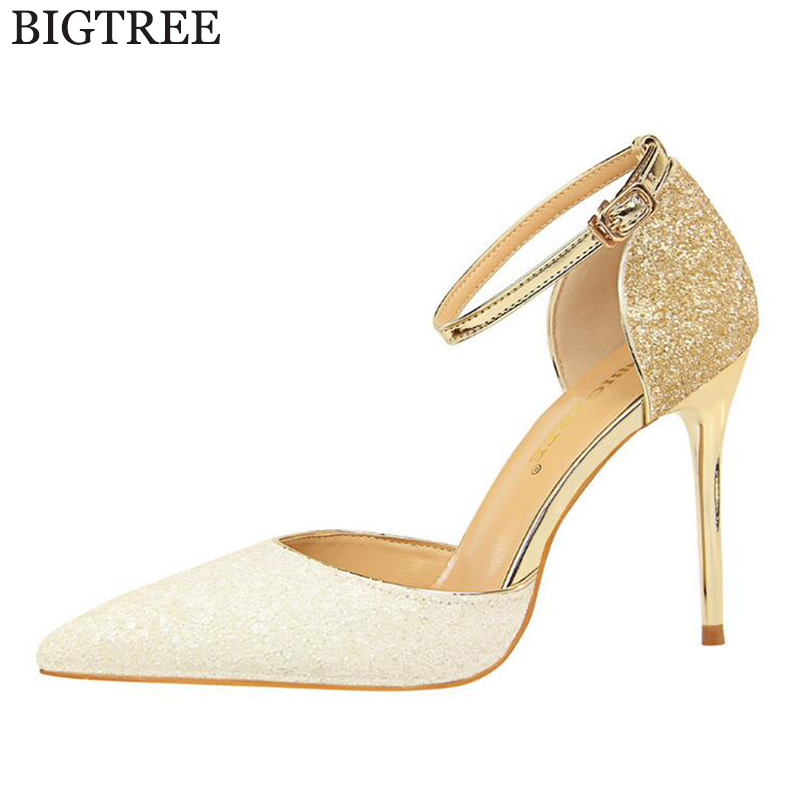 Fashion Buckle Crystals Bling Pumps Women Elegant Thin High Heels Point toe Party Wedding Shoes Woman zapatos mujer tacon c39