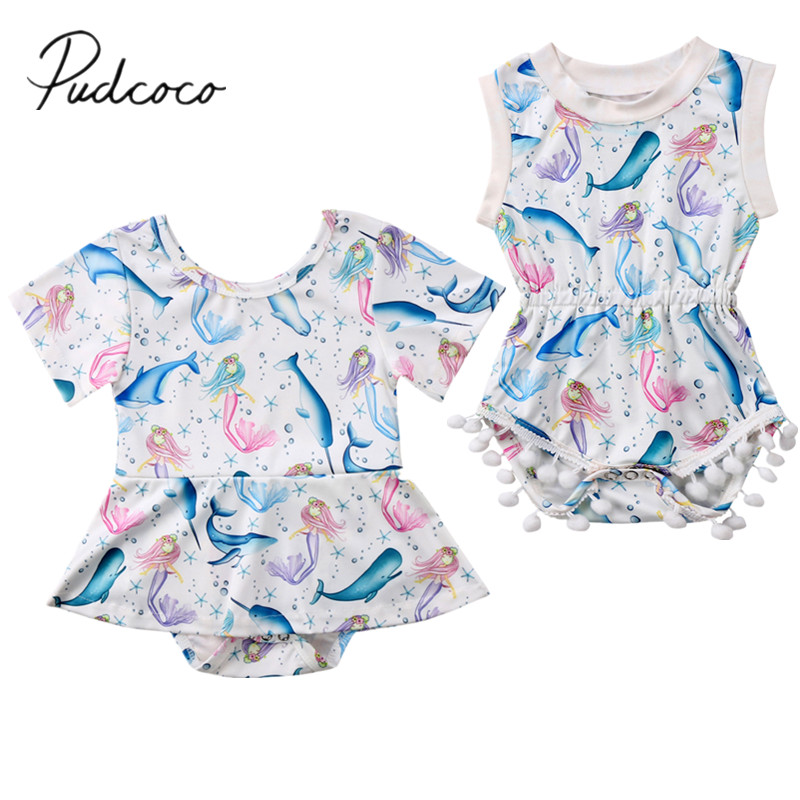 Bodysuits Fashion Lovely Toddler Baby Girls Bear Tutu Princess Romper Newborn Kids Bow Sleeveless Jumpsuit Beach Holiday Clothes Outfit