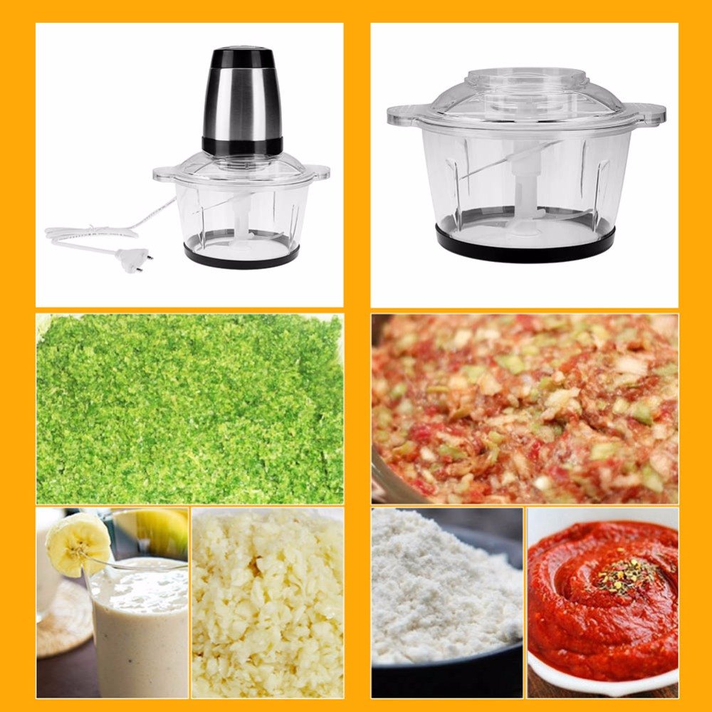 2L Household Electric Meat Grinder Sausage Maker Meat Mincer Vegetable cutter garlic machine Two files PC EU/US/UK Plug multifunction stainless steel household electric meat grinder vegetable cutter sausage maker dogmeat mincer kitchen appliance