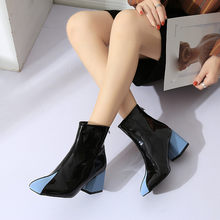 YOUYEDIAN Women Boots PU Leather Autumn Winter Shoes Woman Spuare Toe Block Heels Peluche Ankle Boots Female Botas Mujer #35(China)