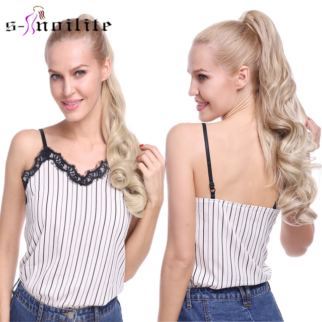 """s-noilite 23"""" Long Curly Clip In Hair Tail False Hair Ponytail Hairpiece With Hairpins Synthetic Hair Pony Tail Hair Extension 1"""