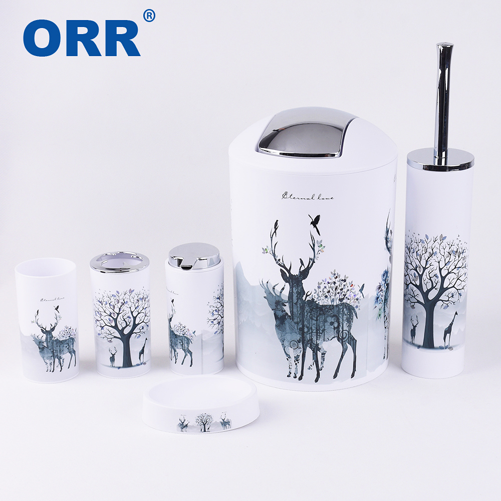 Free shipping bathroom accessories set toilet brush soap dish washing tumbler toothbrush cup dustbin soap dispenser ORR free shipping european style golden toothbrush tumbler