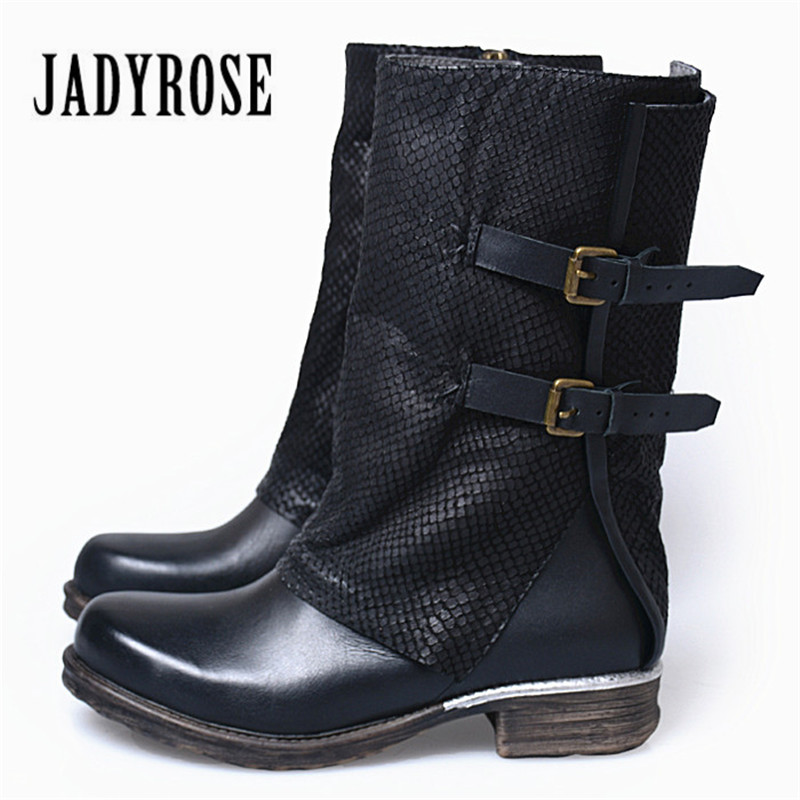 Jady Rose Black Women Autumn Boots Genuine Leather Straps Flat High Boots Female Rubber Shoes Woman Platform Martin Boot jady rose ankle boots for women straps buckle genuine leather autumn boots platform short booties female flat rubber martin boot