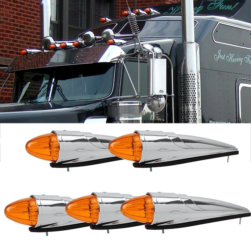 3Pcs 17 LED Amber Cab Marker Clearance Roof Running Top Light For Kenworth Truck