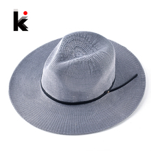 Panama Hats With Leather Belt For Women Summer Breathable Straw Hat Unisex Casual Beach Chapeu Feminino Solid Bucket Caps Men(China)