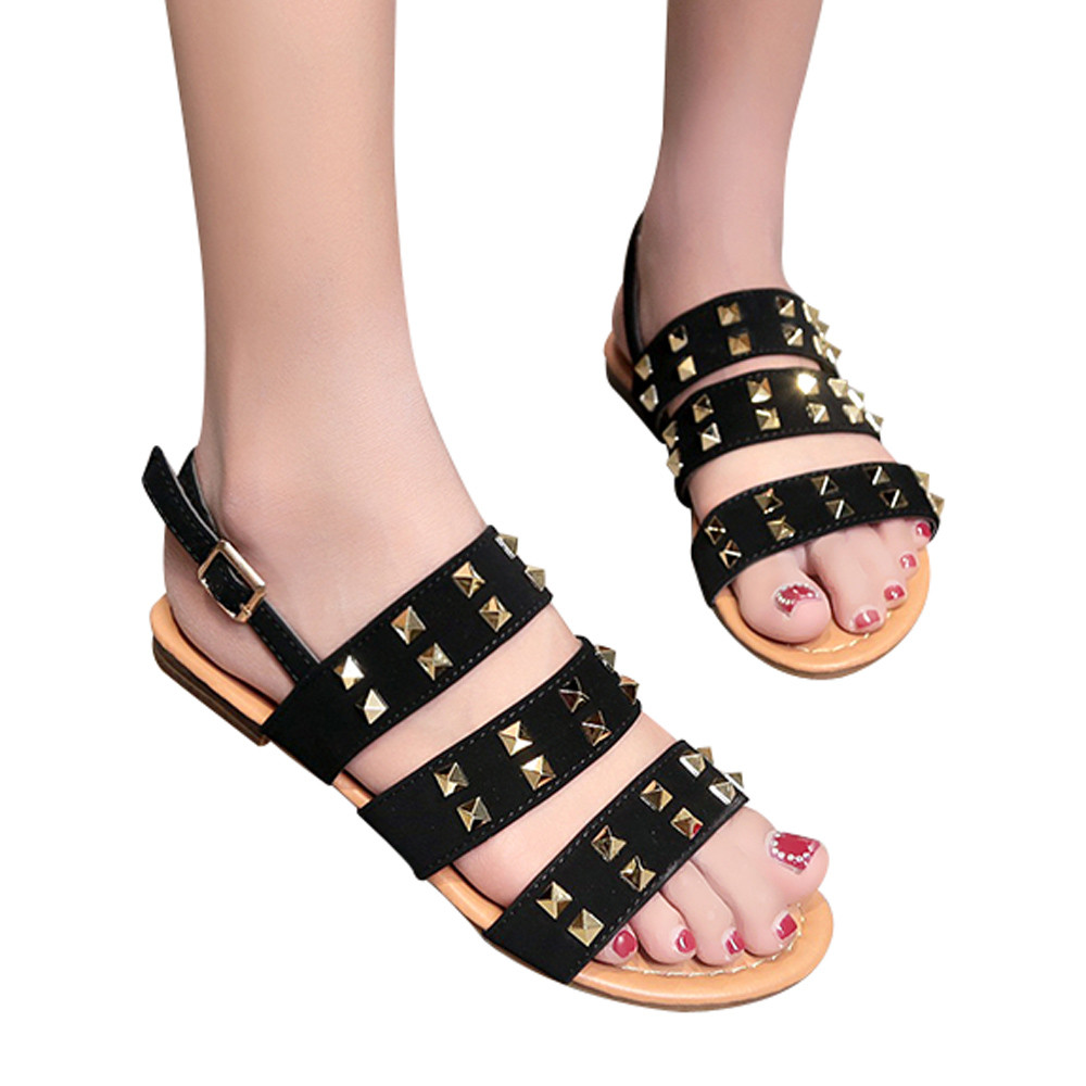 New fashion Buckle-strap Women's shoes Summer Sandals Gladiator Open Toe Buckle Strap Flat with rivets Women Shoes Sandals new summer fashion sexy personality wings women sandals buckle casual gladiator ankle strap flat shoes woman size 35 41