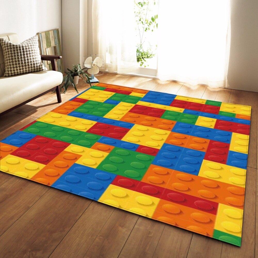 Tapete Colorido moderno Quarto Kids Room Esteira do Jogo cobertor de Flanela Tapete Tapetes de Espuma de Memória Grande Tapete para Sala de estar Em Casa decorativo