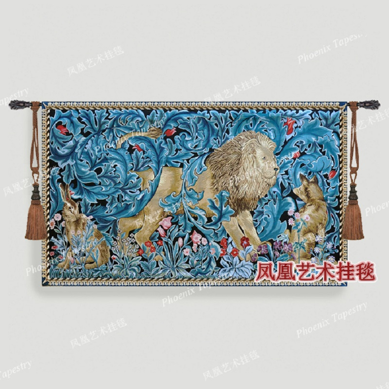 Forest lion Wedding gift Wall hanging tapestry 85 140cm animal Home jacauard fabric textile Aubusson H184