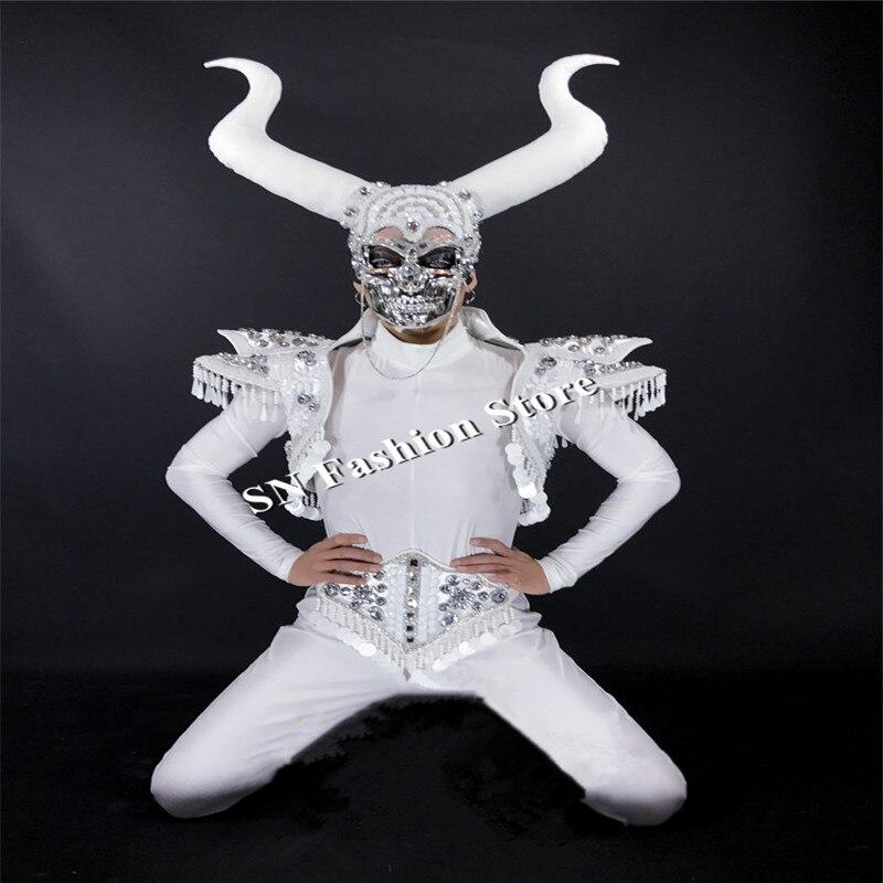 CC97 мужские Бальные Танцевальные Костюмы Маска диджея череп сценический костюм панцири клубная певица подиум модели носит Роговая одежда представление - 6
